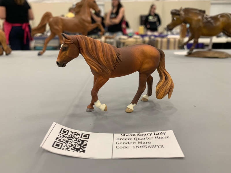 A custom Breyer Stablemate Dunagree at The Jennifer Show 2019